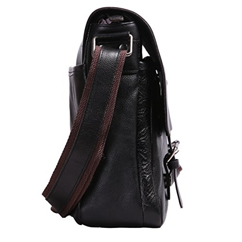 Leathario sac en cuir, sac rétro en cuir, sac vintage, cartable en cuir pour hommes, cartable pour hommes, sacoche en cuir pour hommes, sac porte épaule pour hommes Noir4