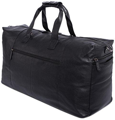 LEABAGS Sydney sac de voyage rétro-vintage en véritable cuir de buffle - SugarCane OnyxBlack