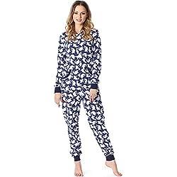 Merry Style Combinaison Pyjama Grenouillère Vêtement d'Intérieur Femme MS10-175 (Bleu Foncé Pointillés, M)