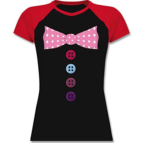 Karneval & Fasching - Clown Kostüm rosa Fliege - XL - Schwarz/Rot - L195 - zweifarbiges Baseballshirt / Raglan T-Shirt für (Und Für Schwarz Frauen Rot Kostüm Joker)