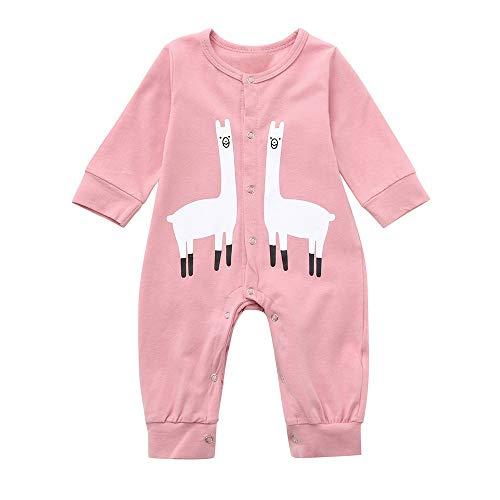 Dtuta Baby-Jungen Langarm Einfarbig Einfache Cartoon Tier Alpaka Elefant Druck Roben Strampler Onesies MäNner Und Frauen Baby Universal Baumwolle Komfort