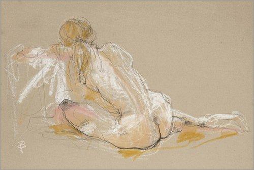 Unbekannt Holzbild 90 x 60 cm: Weiblicher Akt (Bettina in Ölkreide) von Iris Luckhaus Skizzen