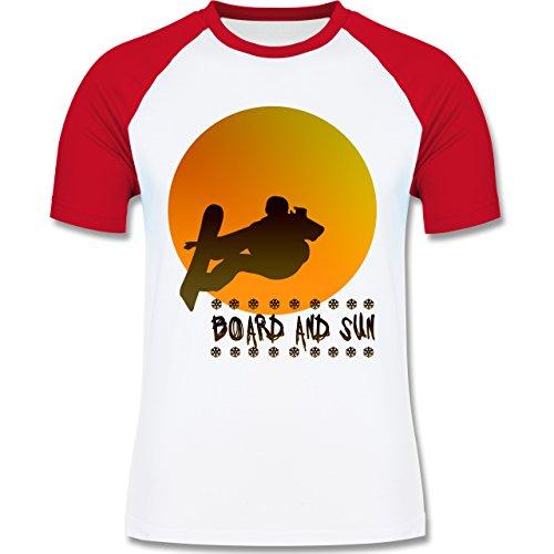 Après Ski - Board and Sun - zweifarbiges Baseballshirt für Männer Weiß/Rot