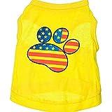 WESEEDOO Camiseta para Perro Disfraz De Perro Chaleco para Perro Huellas Amarillas Bandera Suave para Perros Pequeños, Medianos, Grandes