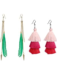 Nawab Boho Gypsy Feather Tassel And Eanmel Earring For Girls And Women (pack Of 2 Pair)- GREEN AND PINK