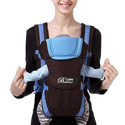 Doing1 Babytrage für Neugeborene Ergonomische Baby-Tragetasche und Kindertrage Elastisches Babyrückentragen Kleinkinder Wrap Carrier Babytragetücher kompakte Bauch und Hüfttrage, 0-3Jahre (Blau)