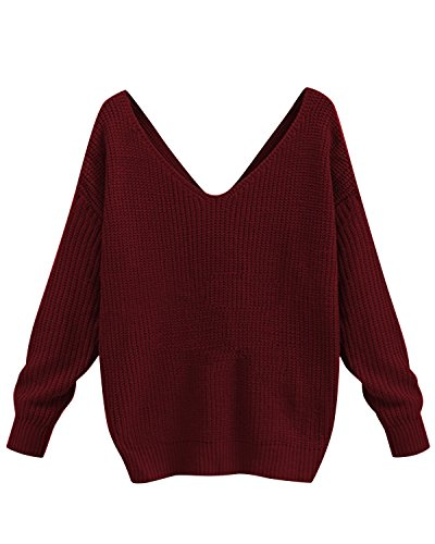 BONESUN Damen Sexy V-Ausschnitt Lange Ärmel Geknotet Sweater Casual Stricken Rückenfrei Pullover Weinrot