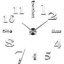 Relojes de pared Adhesivos DIY 3D Números Moderno Relojes Decoración (Plateado)