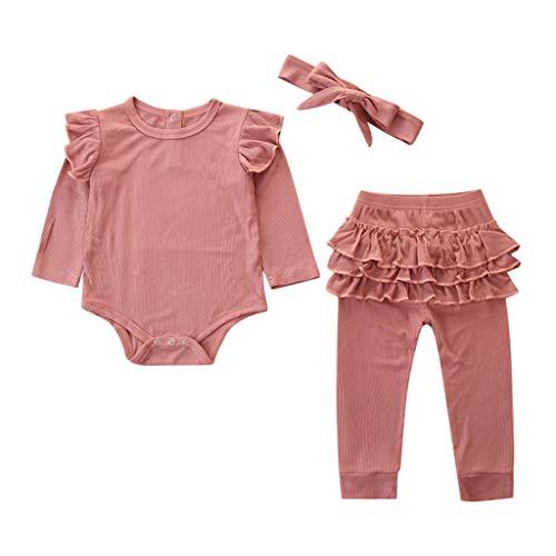 LEXUPE Neugeborene Kinder Baby Mädchen Outfits Kleidung Strampler Bodysuit + Streifen Lange Hosen Set(Rosa-C,90)