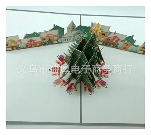 ZHOUBIN 2 fogli/set Carving And Hollowing Out 3D Cards/Greeting Cards/Regali di Natale Capodanno/Auguri di compleanno/Alberi di Natale colorati