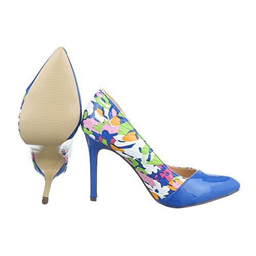 High Heel Damenschuhe Plateau Pfennig-/Stilettoabsatz High Heels Ital-Design Pumps Blau Multi QJ305-22