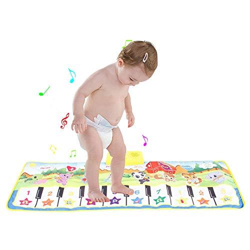 Tappetino per pianoforte musicale gigante per tastiera elettronica, gioco educativo per bambini, con 10 tasti funzione pianoforte, 8 suoni, idea regalo per bambini