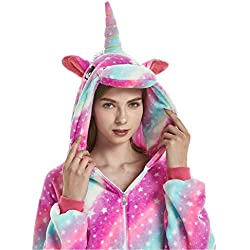 ABYED Jumpsuit Tier Karton Fasching Halloween Kostüm Sleepsuit Cosplay Fleece-Overall Pyjama Schlafanzug Erwachsene Unisex Lounge, Erwachsene Größe S - für Höhe 148-155cm, Sternenhimmel Einhorn