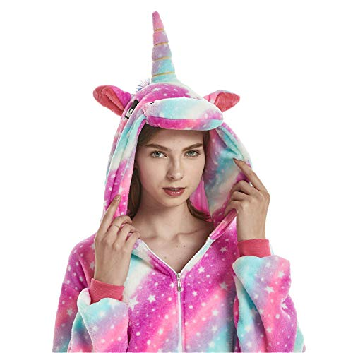 ABYED Jumpsuit Tier Karton Fasching Halloween Kostüm Sleepsuit Cosplay Fleece-Overall Pyjama Schlafanzug Erwachsene Unisex Lounge, Erwachsene Größe XL -for Höhe 175-181CM, Sternenhimmel Einhorn
