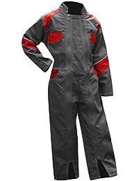LMA – Combinaison de travail Enfant, 2 zips, Tournesol – Bicolore Gris / Rouge – Taille 10 ans