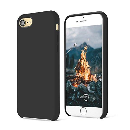 Preisvergleich Produktbild iPhone 8 Hülle, iPhone 7 Hülle,SURPHY Silikon schutzschale vor Stürzen und Stößen Silikon Handyhülle für iPhone 7 iPhone 8 Schutzhülle 4,7 Zoll (Schwarz)