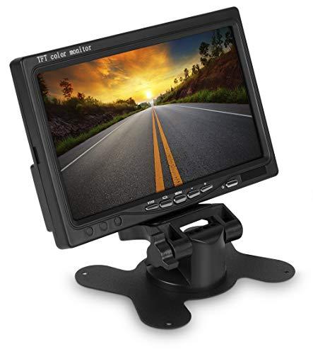 17,8 cm 7 Zoll Inch TFT LCD Digital Video Monitor Stand saugfuss Saugnapf für Auto PKW KFZ Rückfahrkamera Rückfahrsystem mit Zwei Videoeingängen 12V schwarz - 12 3 Rca Component