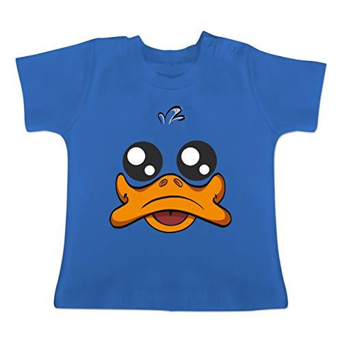 Kostüm Ente Baby - Karneval und Fasching Baby - Ente Kostüm Gesicht - 1-3 Monate - Royalblau - BZ02 - Baby T-Shirt Kurzarm