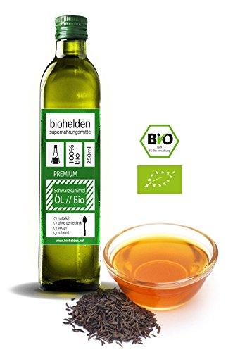 Biohelden Bio Schwarzkümmel Öl 500 ml - Kaltgepresst in Rohkostqualität I Biozertifizierte Ägyptische Rohware (500 ml) (Schwarzkümmel öl Bio)