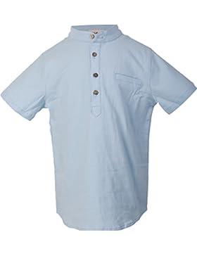 Ipuang Jungen Henley-Ausschnitt Kurzarm Leinenhemd mit Top