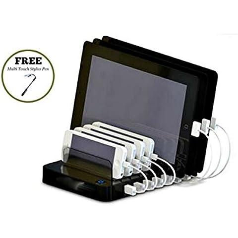 cyanics Universal Multi dispositivo 7puerto organizador de escritorio, cargador, estación de carga para smartphone, iPhone, iPad, Samsung Galaxy, LG, Tablet PC y más
