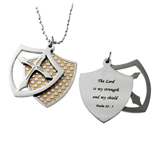 The Lord is my Strength Shield Cross Pendant Necklace