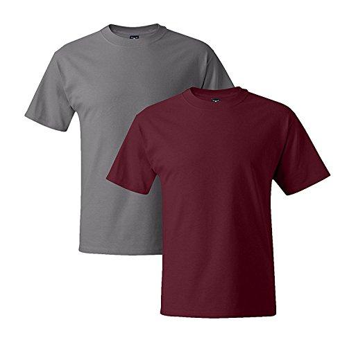 Hanes Mens 5180 Short Sleeve Beefy T, 1 Cardinal/1 Graphite 1 Cardinal / 1 Graphite