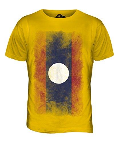 CandyMix Laos Verblichen Flagge Herren T Shirt Dunkelgelb