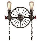 Vintage Lampe Industriell Retro Design gilt Wandlampe zu Wasserrohr in Metall und Rad Antik Wandleuchte Edison E27 Innen Dekorativ Direkt Beleuchtung für Balkon Nachttischlampe Flurlampe Bar