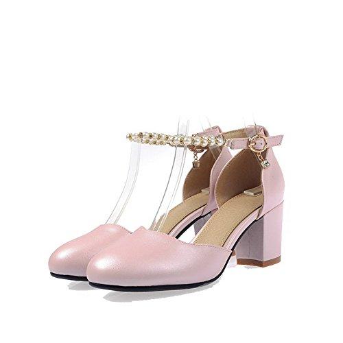 VogueZone009 Femme Boucle à Talon Correct Mosaïque Rond Chaussures Légeres Rose