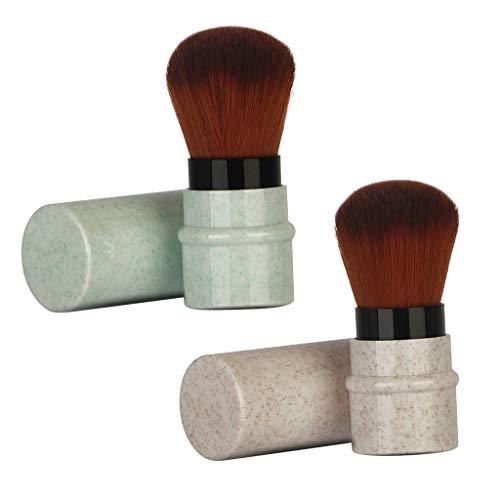B Baosity 2 Unids Cepillo de Cosméticos Pincel Aplicador de Polvo de Maquillaje - Verde + albaricoque