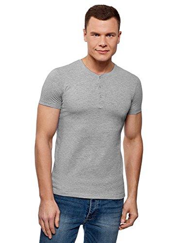 oodji Ultra Herren Tagless Henley-T-Shirt aus Baumwolle, Grau, L