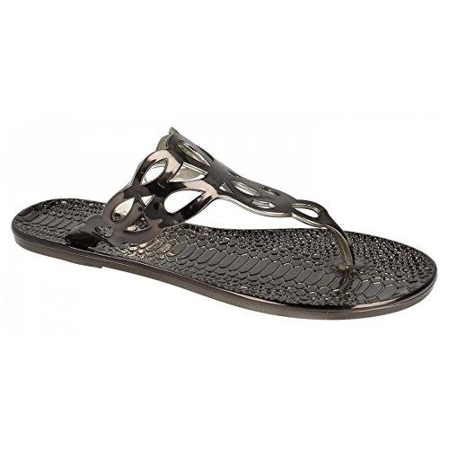 Spot On - Tongs à effet peau de crocodile - Femme Etain