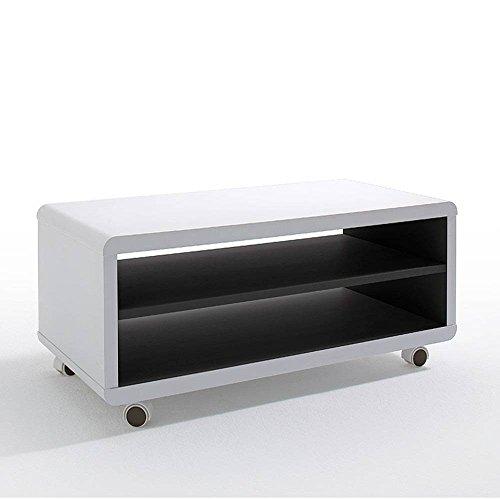 INSIDE Meuble TV Compact Jersey PM Laque Blanc Mat à roulettes intérieur Noir