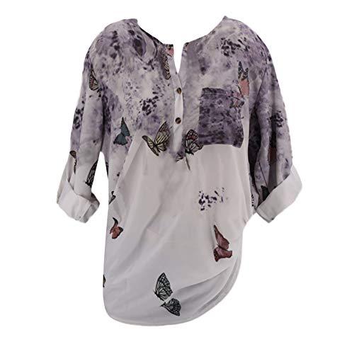 Bluelucon Blusen Damen Hemd Pullover Langarm Shirts Tunika Frauen Plus Größe V-Ausschnitt Taste Langarm Brief Bluse Tops Shirt S~5XL