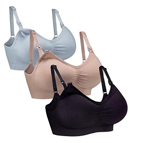 WhiFan 3Pack Still-BHS Nahtlose Mutterschaft Bralette BH Frauen schlafen Wireless Stillen BH (L, 3Pack(Black+Nude+Sky Blue)) (Wireless Frauen Bhs Für)