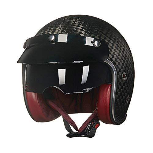 Preisvergleich Produktbild Hombres Mujeres Media cara Doble lente Casco de Moto,  Casco de motocicleta Harley de fibra de carbono Retro,  Cuatro estaciones de seguridad Motocross Cascos Gorras 55-62cm