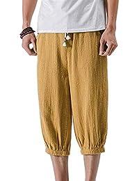 6c15e15ad9 Pantalones para Hombres Pantalones Harem Sueltos De Color Ropa Sólido  Laterales Bolsillos Pantalones Cortos con Cordón