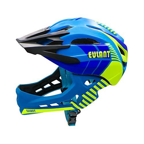 EULANT Kinder Fahrradhelm mit Kinnschutz Abnehmbar, Fullface Helm Kinder, Kinder Laufrad Helm für 2-10 Jahre,Passt für Kopfgröße 48-56, Blau S