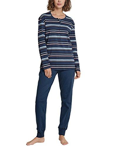Schiesser Damen Anzug lang Zweiteiliger Schlafanzug, per Pack Blau (blaugrau 808), 42 (Herstellergröße: ()