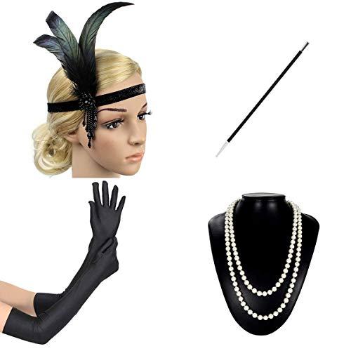 CNNIK 1920s Accessoires Set Damen Flapper Kostüm Gatsby Zubehör Set Inklusive Feder Stirnband Perlenkette Handschuhe ()