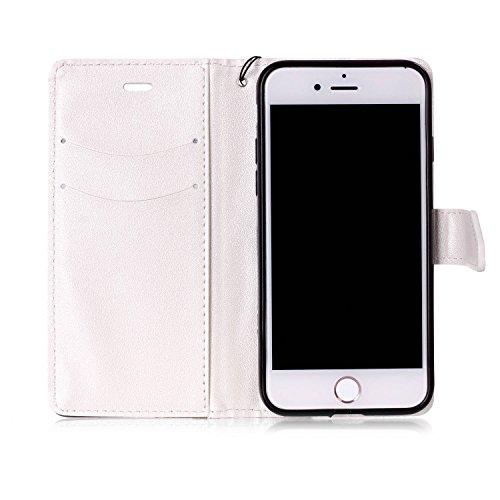 Coque Housse Etui iPhone 7 Cuir PU - Aeeque® Coque à Rabat Fonction Portefeuille de Carte Slots Support Bouton Magnétique Case Housse Cover Coque iPhone 7 4.7 pouce [Plumes de Campanula] Motif #9