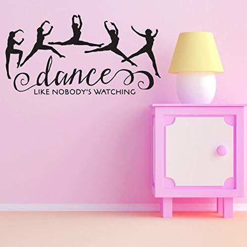 WHDXYM Ballerina Wandtattoo Tänzer Tanz Ballett Vinyl Wand Dekoration Grafik Aufkleber abnehmbar Schlafzimmer Art-Deco-Aufkleber 42x80cm -