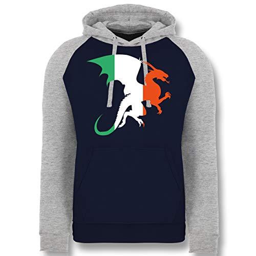 Kostüm Irland Elf - St. Patricks Day - Drache Irland - S - Dunkelblau/Grau meliert - JH009 - Baseball Hoodie