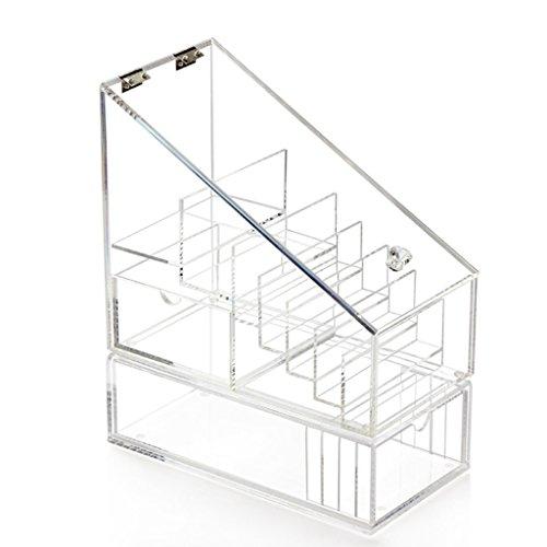 Étui cosmétique HWF Boîte de Rangement de Rouge à lèvres en Acrylique Boîte de beauté Transparente avec étagère de recouvrement Organisateur