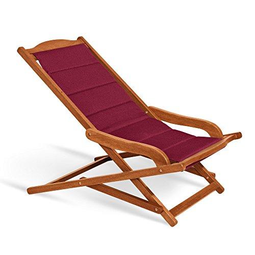 Fauteuil chaise longue rembourrée 75 x 103 x 63 cm, Mod.Biancospino 2pz Chaise longue en bois, accoudoirs ergonomiques, col.Bordeaux, fauteuil relax en bois rembourrée, Chaise longue terrasse, appuie-tête assorti inclus