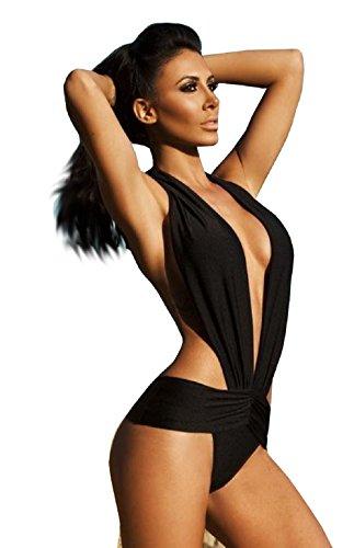 Costume Da Bagno Damen Badeanzug schwarz schwarz Large