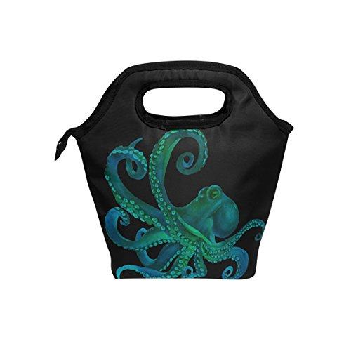 naanle Watercolor Octopus Isolierte Reißverschluss Lunch Tasche Kühler Tasche für Erwachsene Teens Kinder Mädchen Jungen Herren Frauen, Animal Octopus Lunch-Boxen lunchbüchse Mahlzeit Prep Handtasche für draußen Schule - Für Octopus Strand Handtücher Den