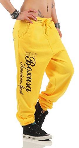 Boxusa Damen Jogginghose Thepower Design Fitnesshose Freizeithose Sporthose Gelb