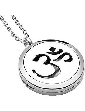 JOVIVI Edelstahl Aromatherapie Ätherische Öle Diffusor Halskette OM Symbol Floating Medaillon Aroma Diffuser Locket...